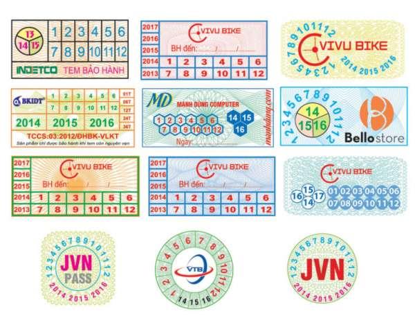 Các mẫu tem bảo hành trên thị trường