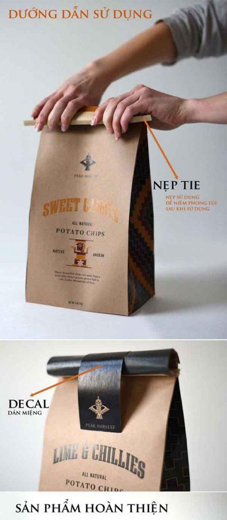 Túi giấy Kraft gấp miệng