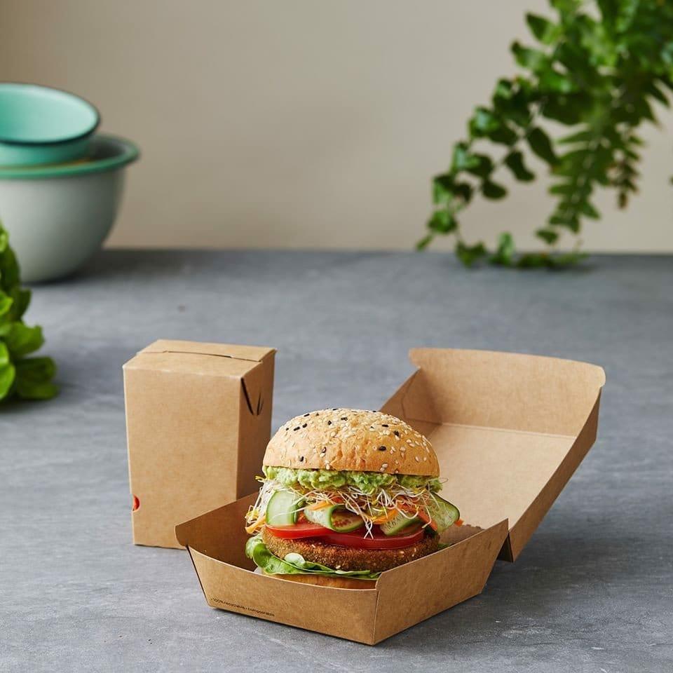 Mẫu hộp giấy cứng đựng bánh hamburger