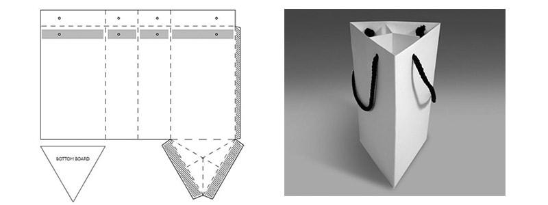Mẫu túi giấy đựng quà hình tam giác